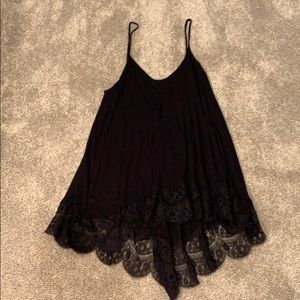 Black tank tunic with lace trim